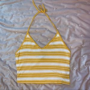 F21 yellow striped halter crop top size S